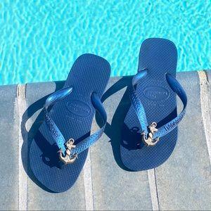 Sugar toe Havaianas navy blue anchor flip flops